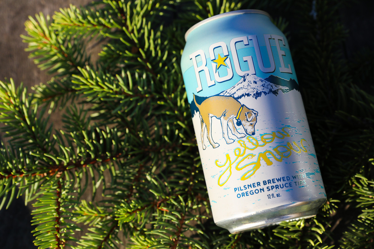 Rogue Yellow Snow Pilsner is brewed with Oregon spruce tips and is available from November through February.