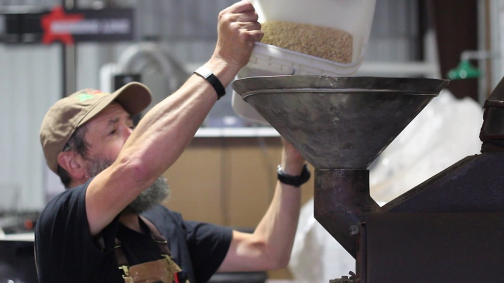 Rogue Brewmaster John Maier roasts his own malts at the Rogue Brewery in Newport, Oregon.