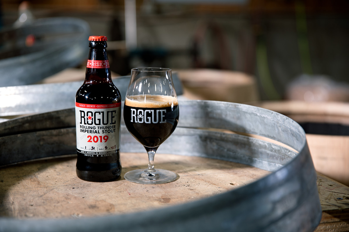 We age Rolling Thunder Imperial Stout in our hand-built, whiskey-soaked Rolling Thunder Barrels for nine months.