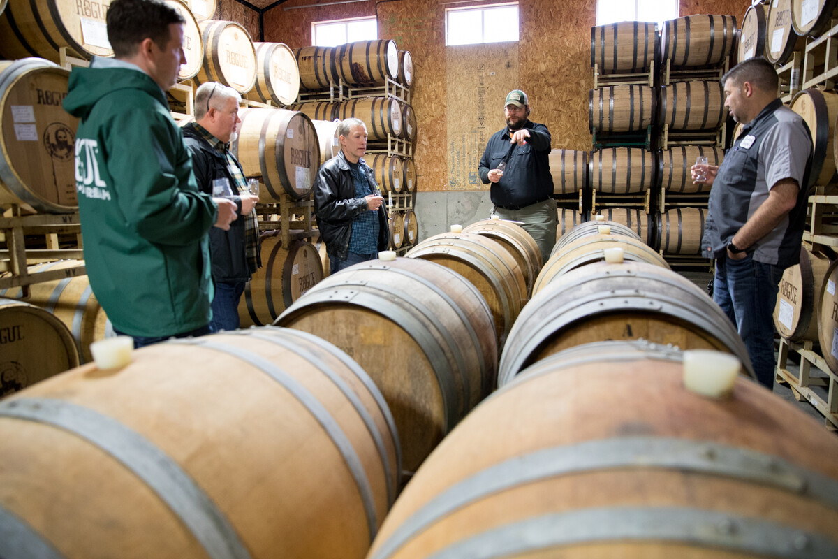 Rogue Spirits Head Distiller Brian Pribyl discusses whiskey blending with other spirits experts in our Ocean Aging Room in Newport, Oregon.