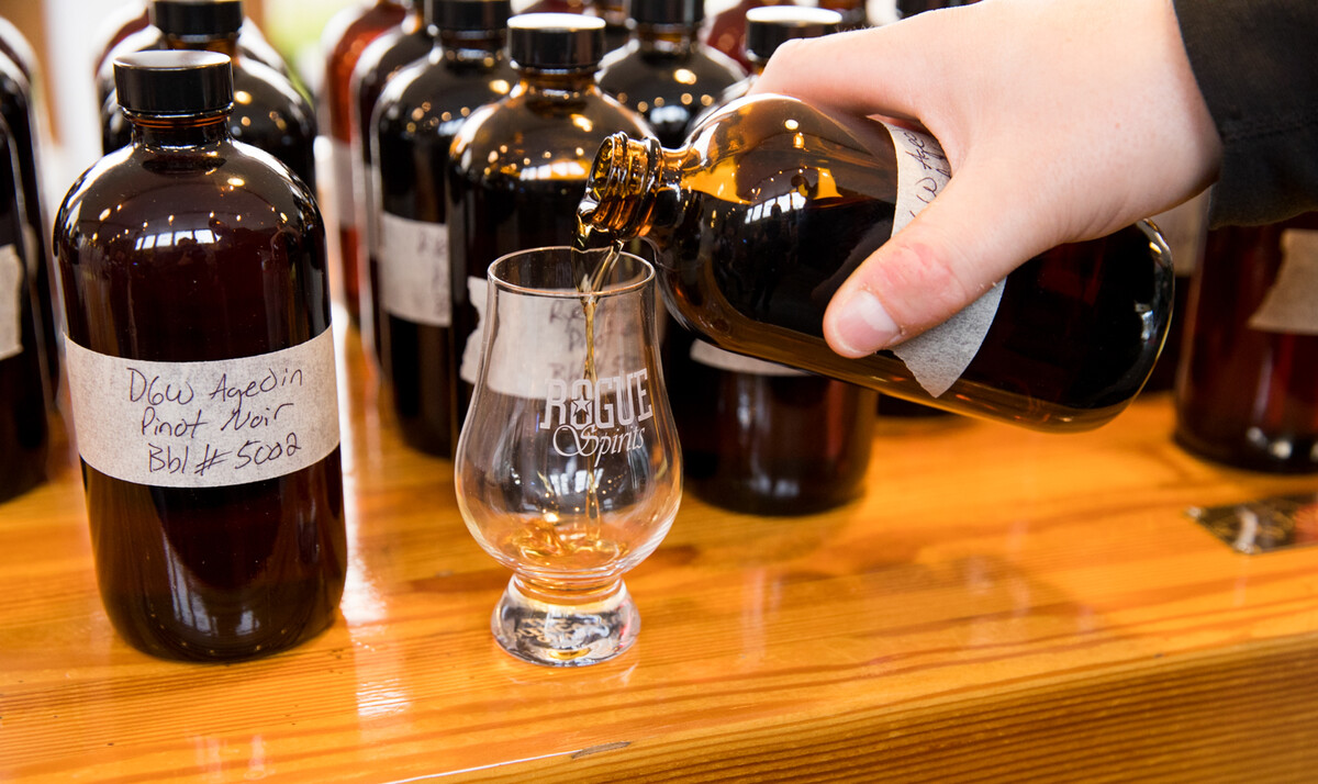The group of spirits experts tasted a wide variety of samples of the whiskeys which had been aged in Pinot noir barrels.