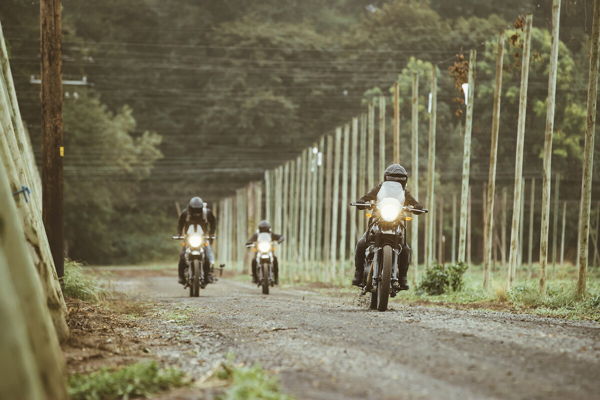 The three riders leave Rogue Farms in Independence, Oregon carrying wet Mosaic Hops in their back packs.