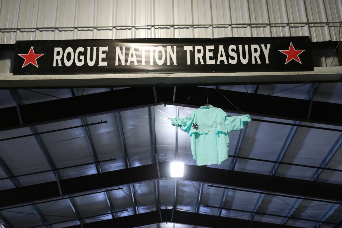 """Jim Cline's retired """"jersey"""" hangs from the ceiling at Rogue World Headquarters in Newport, Ore."""
