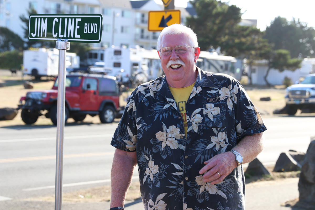Jim Cline stands at the corner of OSU Drive and Jim Cline Boulevard.