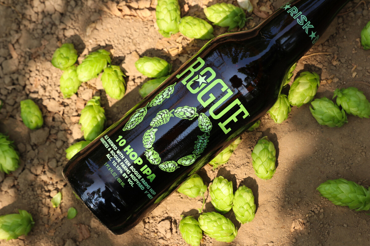 10 Hop IPA is brewed with all 10 types of hops we grow on Rogue Farms in Independence, Ore.