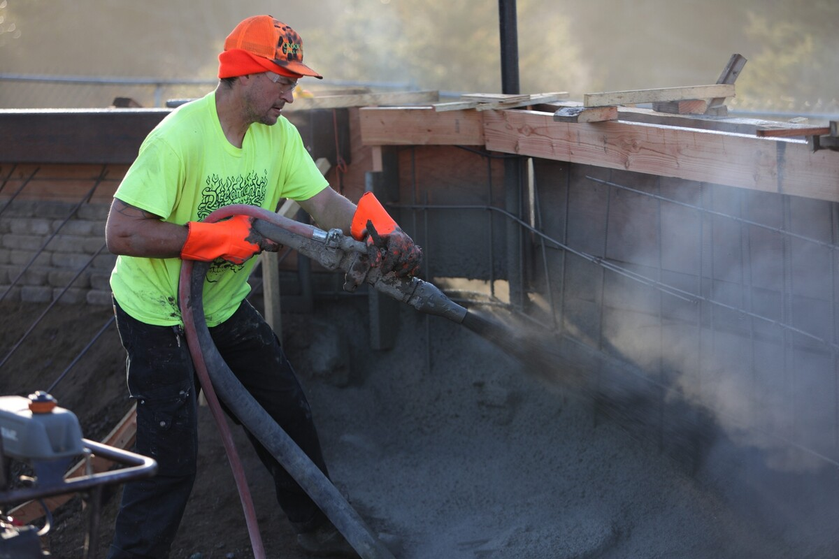 Fresh concrete gets poured at Newport Skatepark during phase two of the renovation.