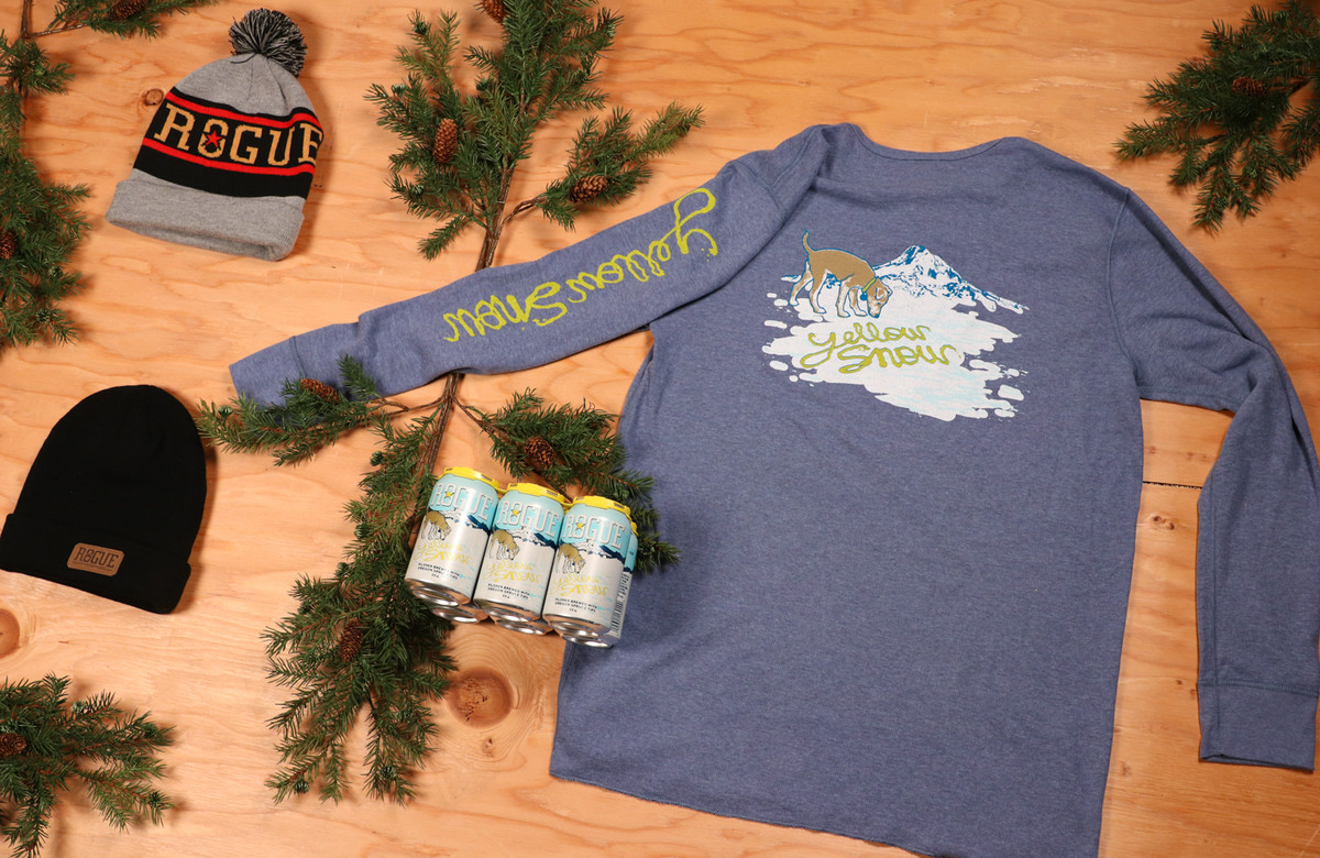 Two Rogue Beanies and our Yellow Snow Pilsner thermal pair well with Yellow Snow Pilsner.