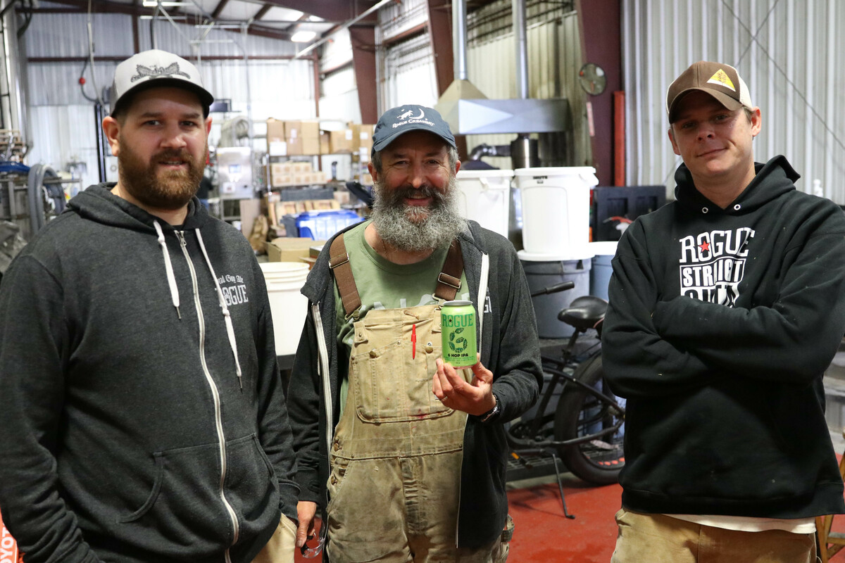 From left, Rogue Brewmaster Joel Shields, Rogue's first Brewmaster John Maier and Rogue Innovation Brewer Michael King.