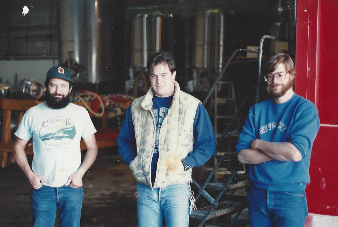 From left to right: Brewmaster John Maier, former brewer Tim Mann and a young Nate.