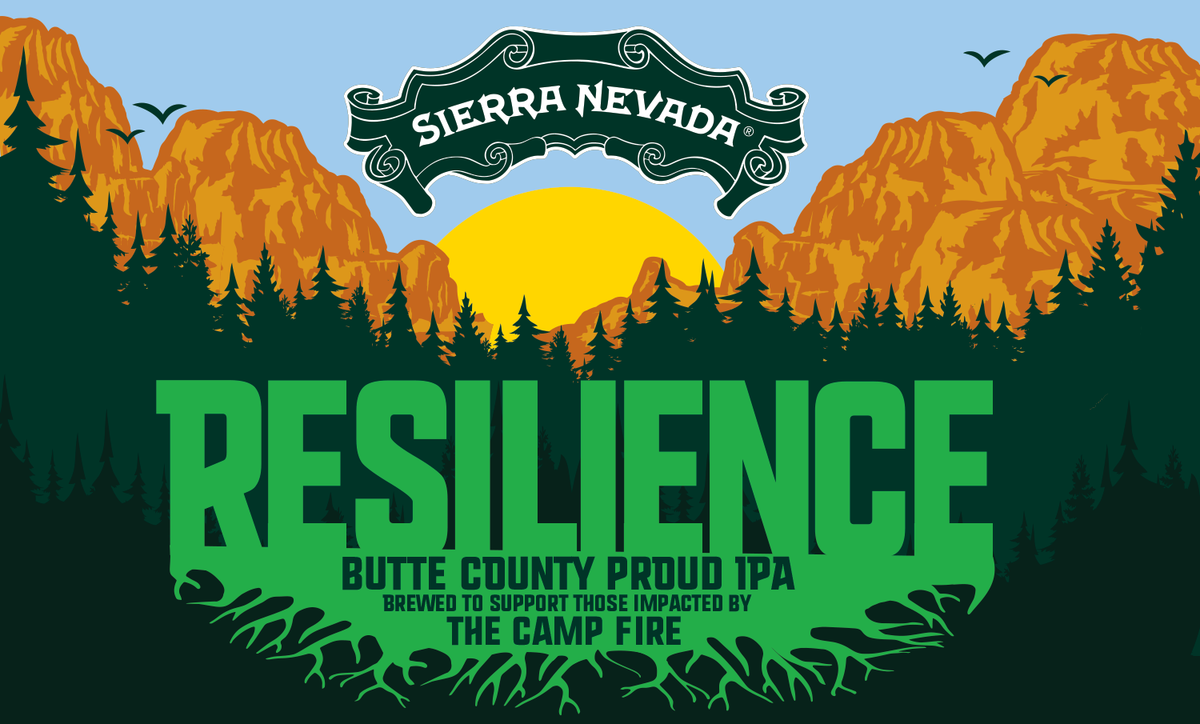 Resilience IPA is a collaboration brew with Sierra Nevada and over 800 other breweries in support of the Butte County community impacted by the Camp Fire.