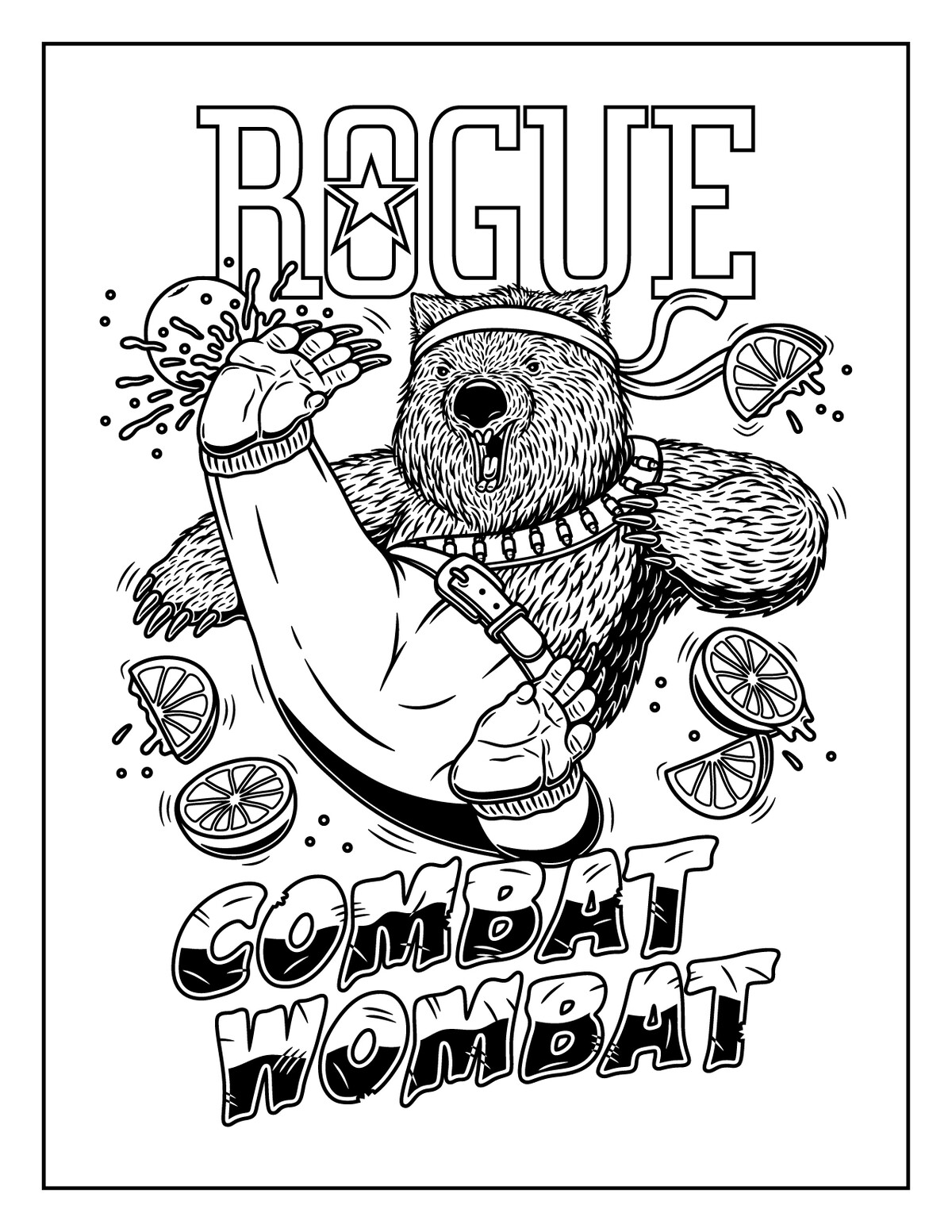 combat-wombat_coloring-page_with-border