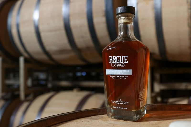 Oregon Rye Malt Whiskey uses rye grown at Rogue Farms in Tygh Valley.