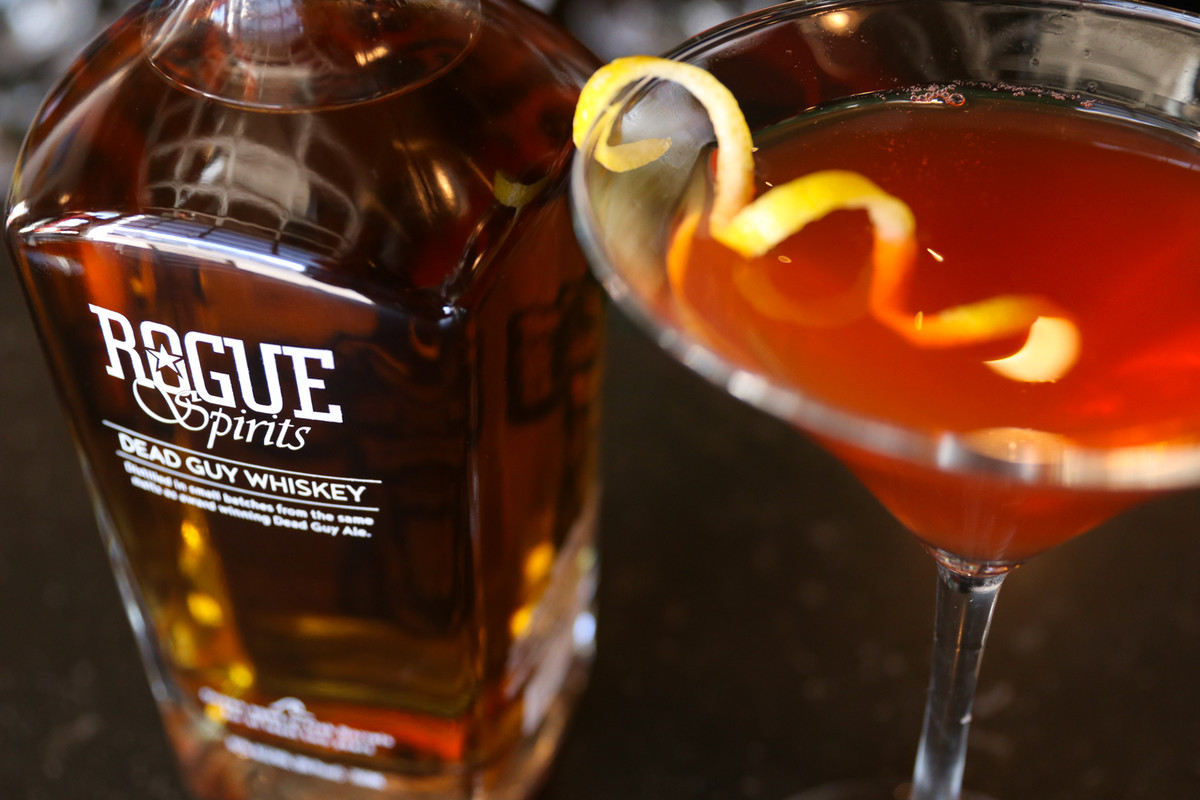 Dead On mixes Rogue Dead Guy Whiskey with sweet vermouth, peach liqueur, Benedictine and Angostura Bitters.
