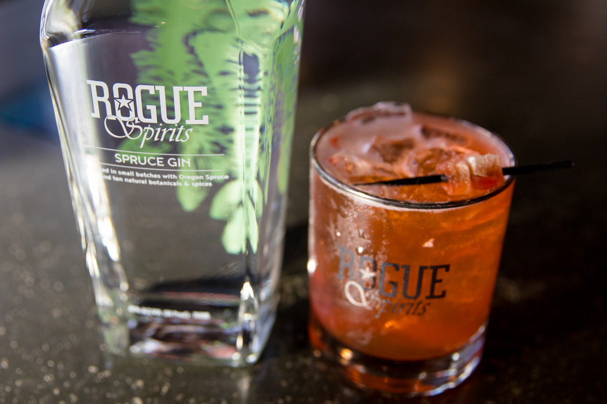 Spruce Gin, made with Rogue Farms-grown cucumbers, is mixed with Domaine de Canton Ginger Liqueur and Aperol for Ted Kilgore's Spruce It Up cocktail.