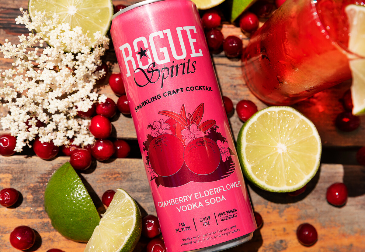 The Cranberry Elderflower Vodka Soda is a blend of Rogue Spirits Bayfront Vodka, cranberry and elderflower.