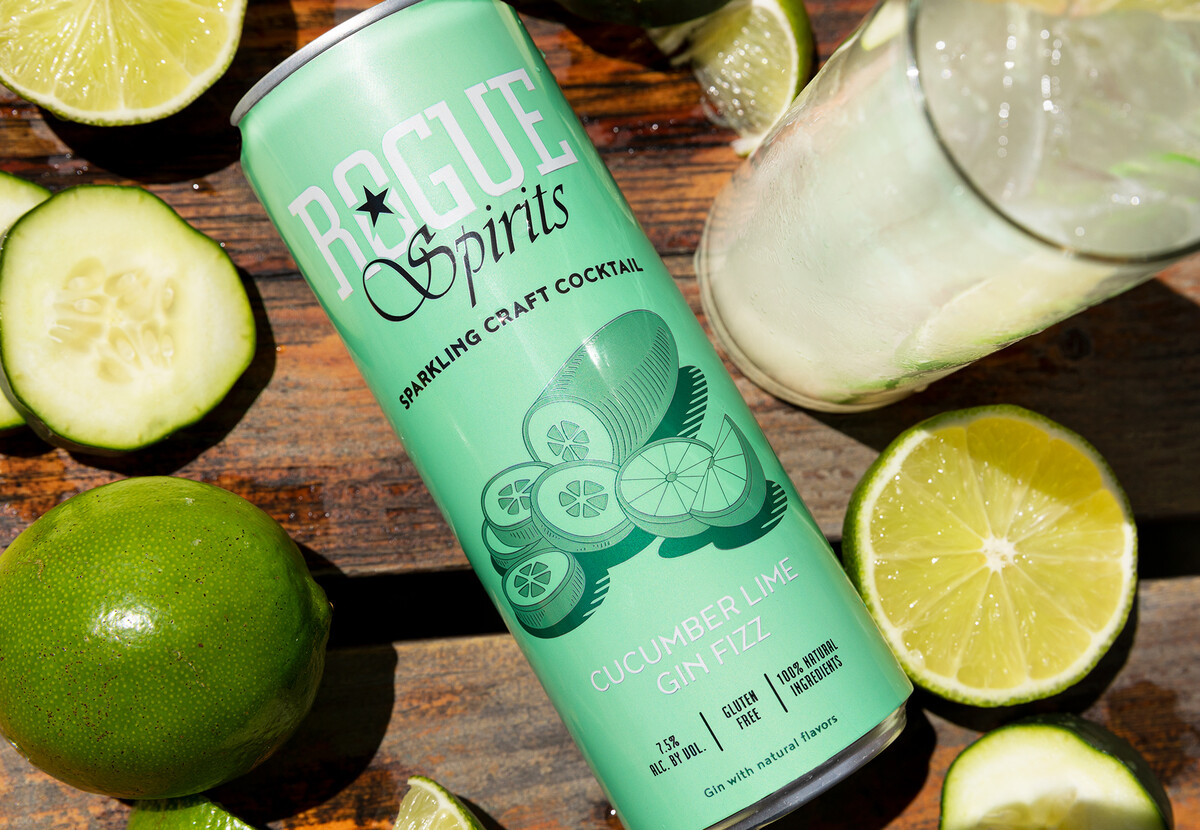 The Cucumber Lime Gin Fizz brings together the flavors of Rogue Spruce Gin and fresh cucumber.