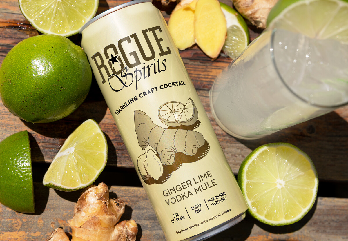 The Ginger Lime Vodka Mule fuses Rogue Spirits Bayfront Vodka with ginger and lime.