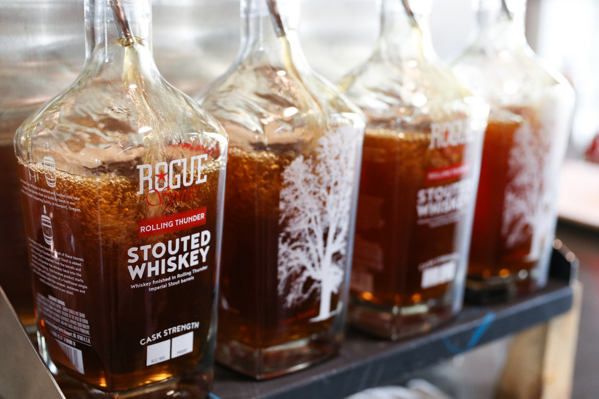 Stouted Whiskey is handbottled in our distillery in Newport, Oregon.