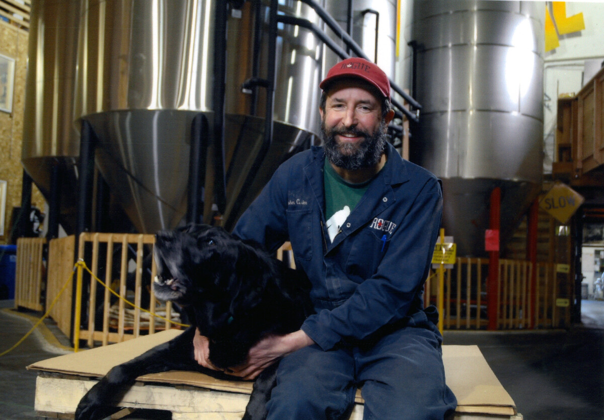 John Maier with his dog Brewer.